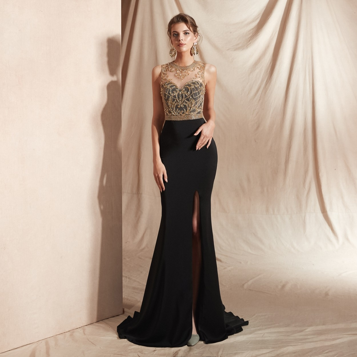 slive sequin formal dresses evening gown elegant long evening dresses evening dress arabic special occasion dresses es2062 Formal Dress Women Elegant Black Mermaid Evening Gown Muslim Evening Dresses Long Beaded Split Occasion Dresses For Women Party