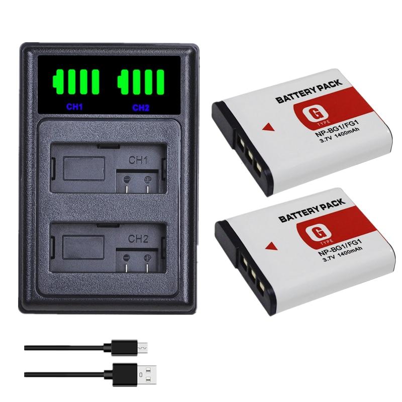 2pcs NP BG1 NPBG1 Baterias + LCD Carregador Duplo FG1 DSC W120 W125 W130 W150 W170 W200 W210 W220 W230 W290 T20 T100 HX30
