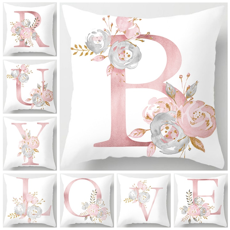 Custom Pink Letter Decorative Cushion Cover Wedding Party Decoration Wedding Decorative Pillow Party Supplies Wedding Ornaments