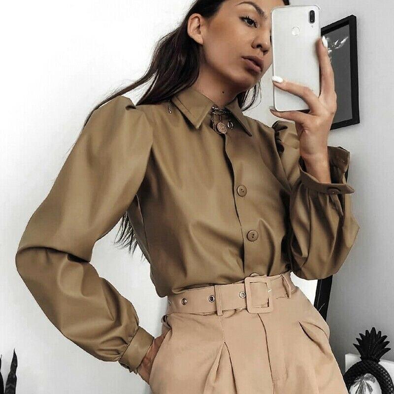 6 colores moda novedosa mujer Casual Faux Leather Lapel Puff camisa de manga larga con botones blusa Tops trajes