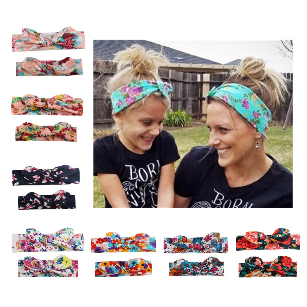 2 PCs/set Mother Baby Printing Rabbit Ears Hair Accessories Headwear Elastic Bowknot Hair Stretch Headband For Women Children