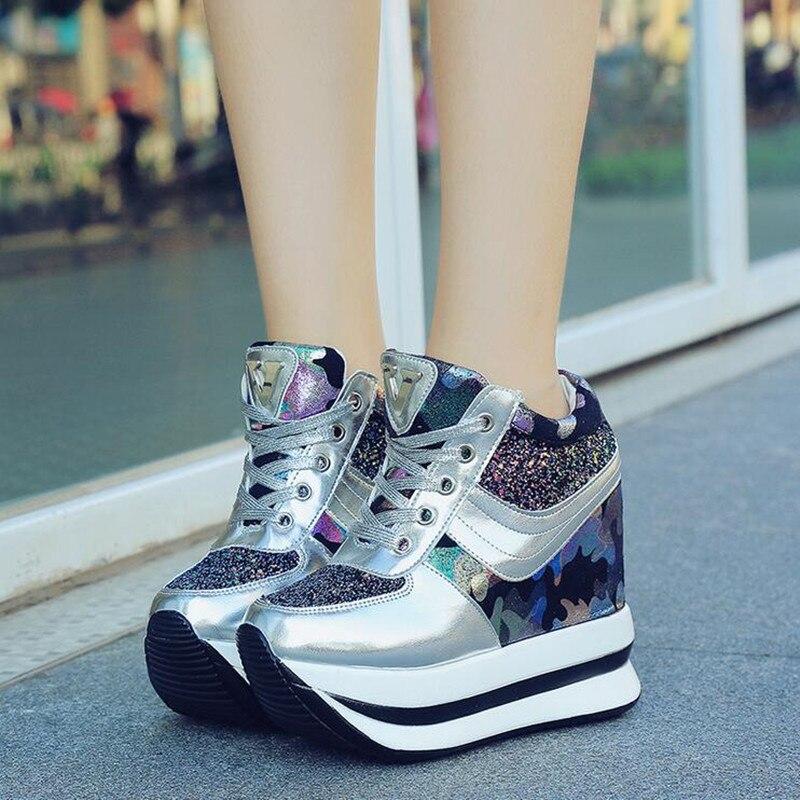 Классическая модная обувь; высокие кроссовки; женские ботильоны на платформе; Basket femme chaussures Femmes; женская обувь, увеличивающая рост; W5