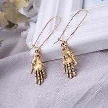 Boucles doreilles Palmistry-boucles doreilles Palmistry, pendentif de Fortune, lecteur de main, chiromancie en argent, couleur mystère, bijoux, cadeau pour femmes