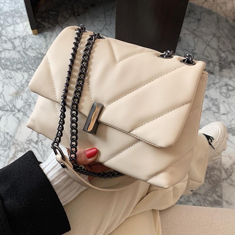 V-line Crossbody Bag 2021 Fashion New Quality PU Leather Women's Designer Handbag High capacity Chain Shoulder Messenger Bag