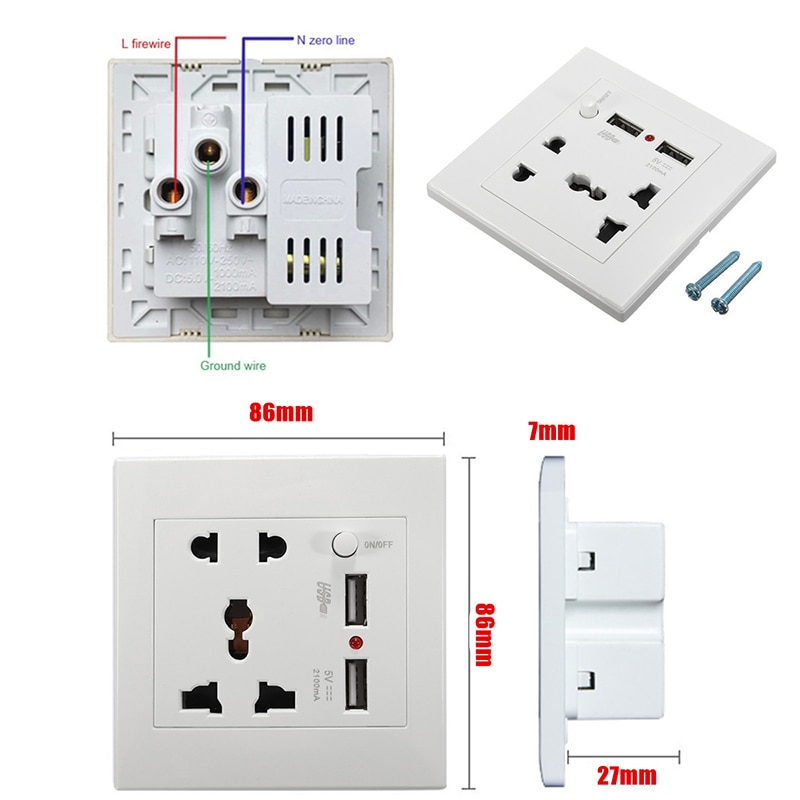 Universal Wall Socket 2100mA AC 110-250V 2 USB Ports Outlet US Home Wall Charger Home Office Hotel For Cell Phones Tablets