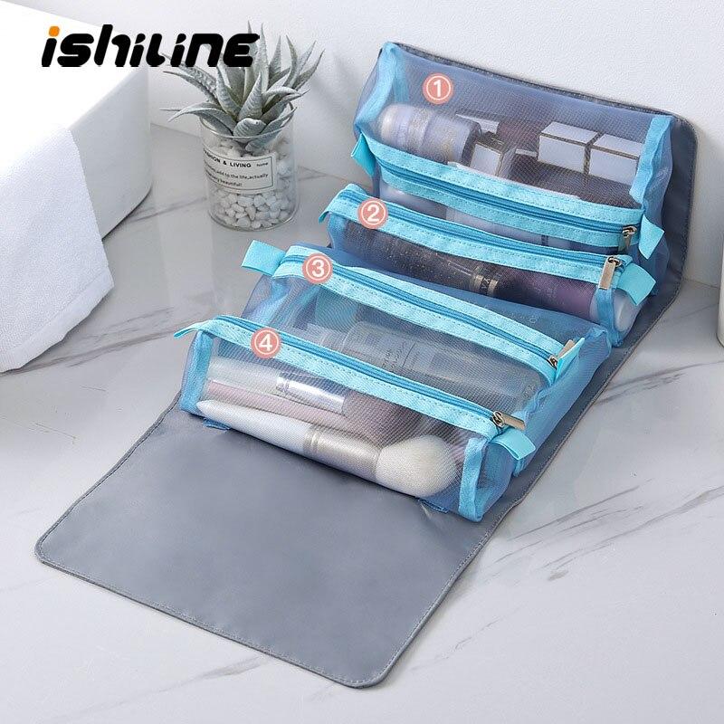 Creativo estuche para maquillaje de viaje, bolsa de lavado impermeable desmontable de mano, puede colgar organizador de maquillaje de malla transparente