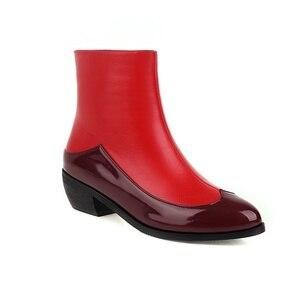 Ботильоны для женщин 2020; Новинка; Острый носок; На не сужающихся книзу высоких массивных каблуках, сапоги черного цвета, кожаные сапоги, красные женские сапоги пикантные сапоги на шпильках