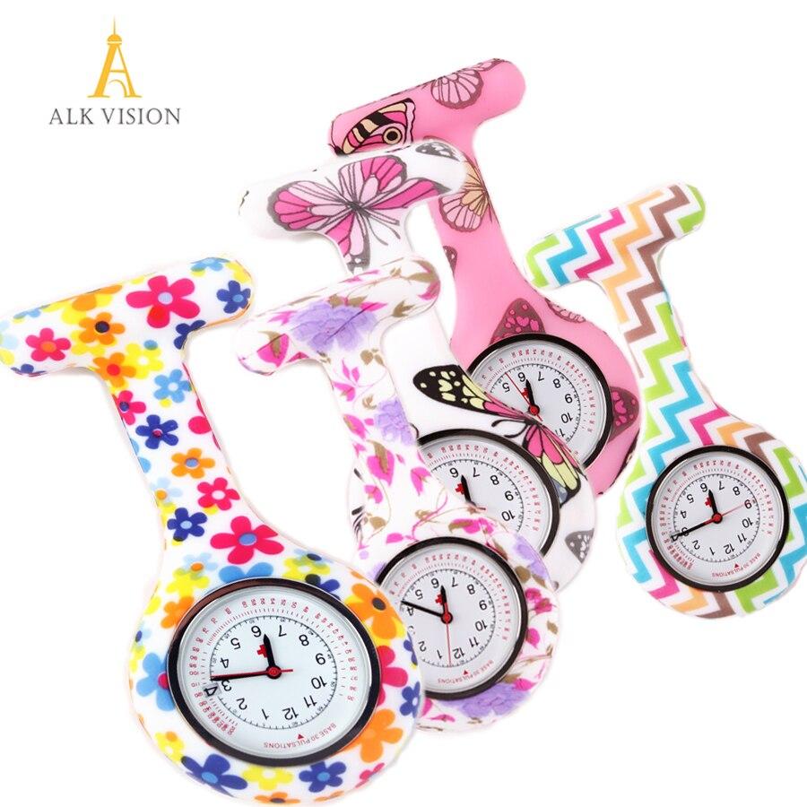 Силиконовые медицинские часы, больничные подарки, с рисунком бабочки, медицинские часы, карманные часы для медсестры с календарем и датой