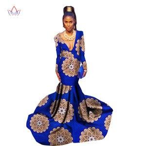 Длинное платье для женщин в африканском стиле, осеннее платье с вощеным принтом в стиле Русалочки, WY1382