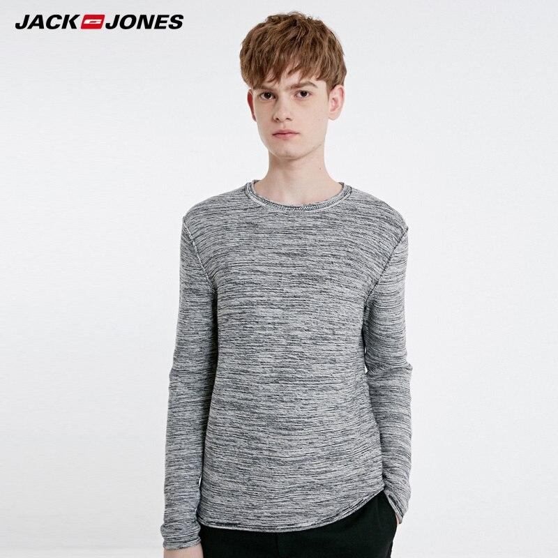 Jack jones estilo básico inverno 100% algodão gola redonda camisola de malha masculina   219124503