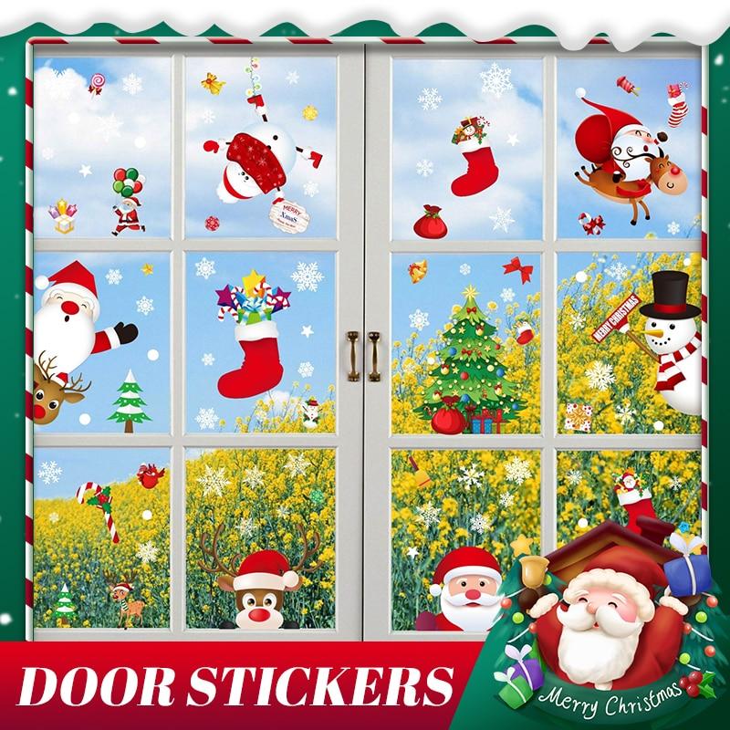 2021 Amazon Cross Border Christmas Window Sticker Shop Mall Window Glass Festival Electrostatic Decorative Wall Sticker