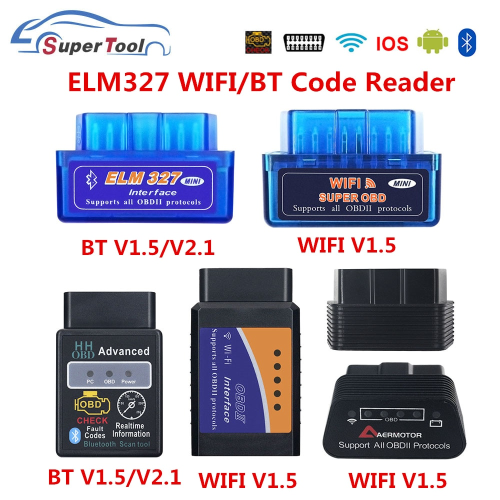 OBD2 ELM327 4.0 OBD ELM327 Bluetooth V1.5 V2.1 ELM 327 WIFI/WI-FI V1.5 OBDII Car Diagnostic Scanner Tool For Android/IOS/Windows