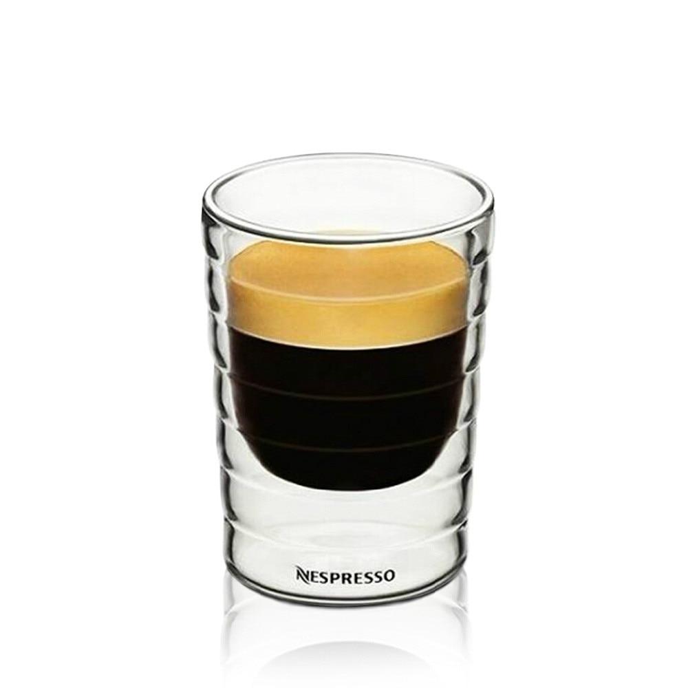 Taza de café Nespresso150/350ml, taza de café de cristal de doble pared, tazas de café Espresso con aislamiento transparente, resistente al calor taza de té, cristal sin plomo