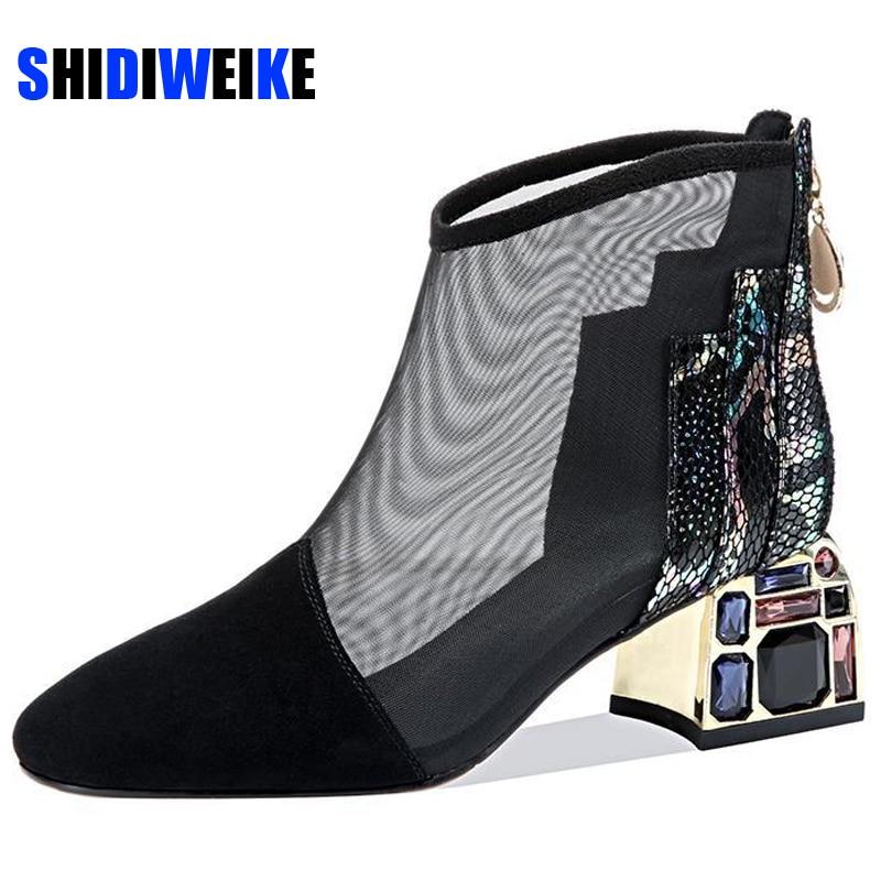 صندل نسائي شبكي ، حذاء نسائي بكعب متوسط ، حذاء بمقدمة مفتوحة مع سحاب خلفي ، أسود ، 2021