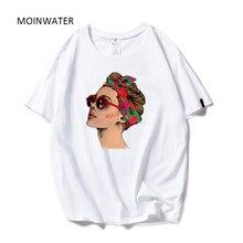 MOINWATER 2020 Nouvel Été Coton Harajuku T-shirt Avatar Imprimé Vogue Décontracté Coton T-shirts Manches Courtes Femme T-Shirts Hauts MT19136