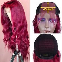 Sophies-perruque avec bonnet en dentelle pour femme, chevelure naturelle ondulée, Remy Hair, 4*4, couleur bordeaux, pour femme