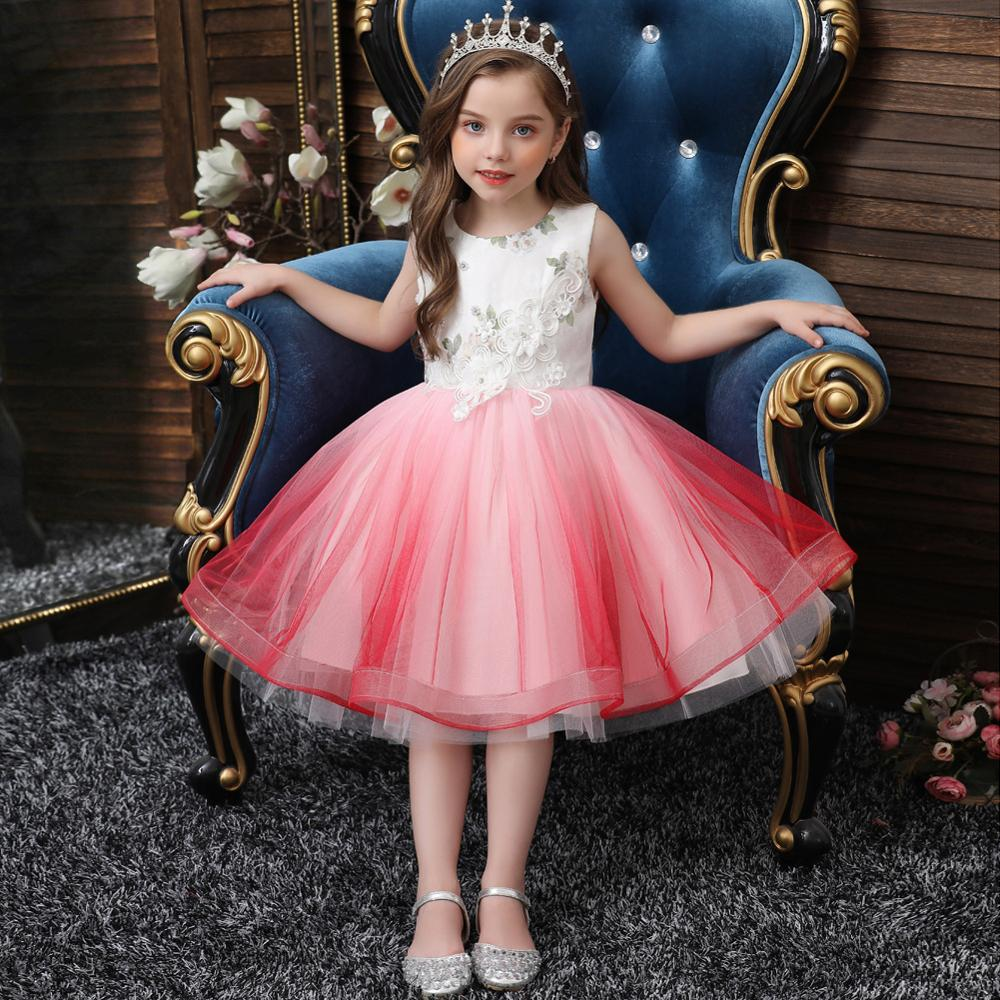 kids clothes girls 2 to 9 years tulle tutu princess pink flower dresses girl bow ribbon for party wedding dress free shipping Gradient Princess Flower Girl Dress Summer Tutu Wedding Birthday Party Dresses Tulle For Girls Children Costume vestidos платье