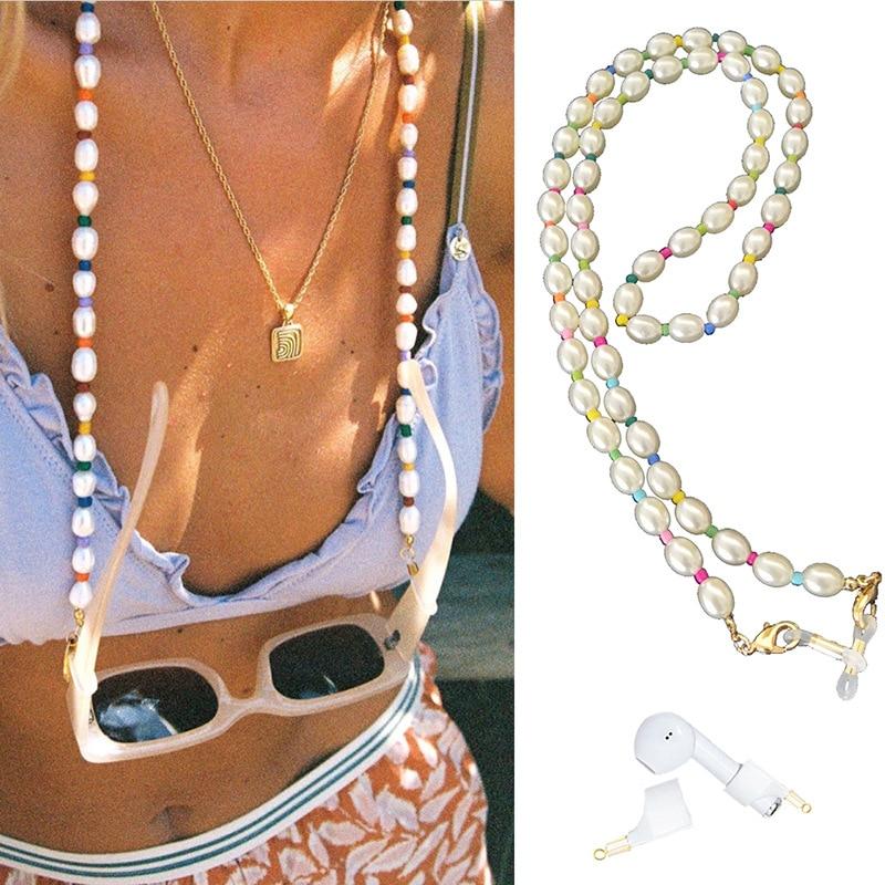 AliExpress - Pearl Mask Earphone Anti-lost Chains Eyeglasses Reading Glasses Sunglass Chain Non Slip Lanyard Cord Holder Rope For Women Girls