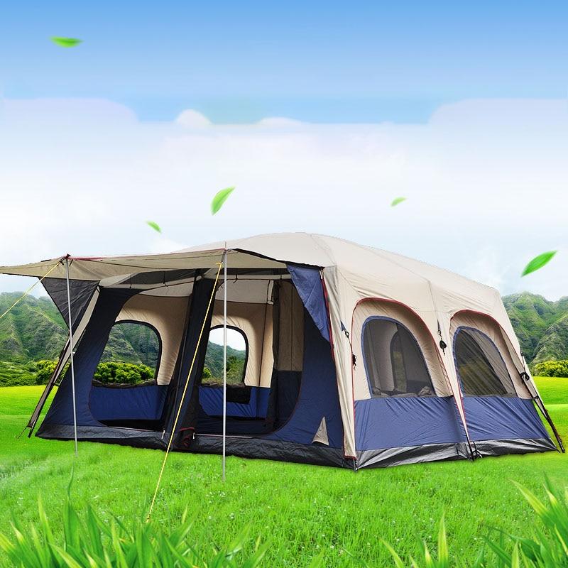 Alltel 460*360*215 سنتيمتر اثنين غرفة نوم واحدة المعيشة الخيام التخييم في الهواء الطلق 6-10 الناس مجموعة نزهة السياحية طبقة مزدوجة المعطف Tente