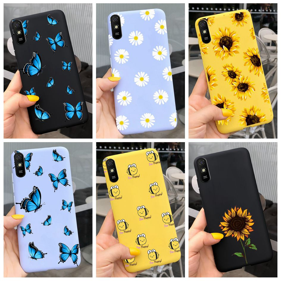 For Xiaomi Redmi Note 9 7 8 Pro 6 5 Plus 5A 6A Case Soft TPU Flower Cartoon Cute Cover on Redmi Note