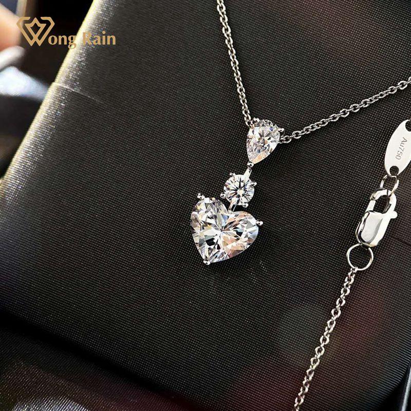 وونغ المطر 925 فضة القلب مكون مويسانيتي الماس الزفاف المشاركة رومانسية لطيف قلادة قلادة غرامة مجوهرات