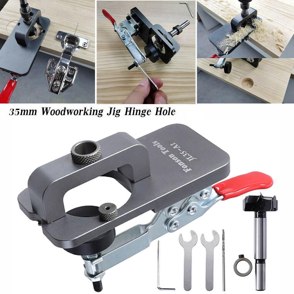 1Set 35MM Cabinet Inset Hinge, Stainless Steel Cup Style Boring Hole Drill Guide, Bit Wood Cutter Woodworking DIY Tools for Home