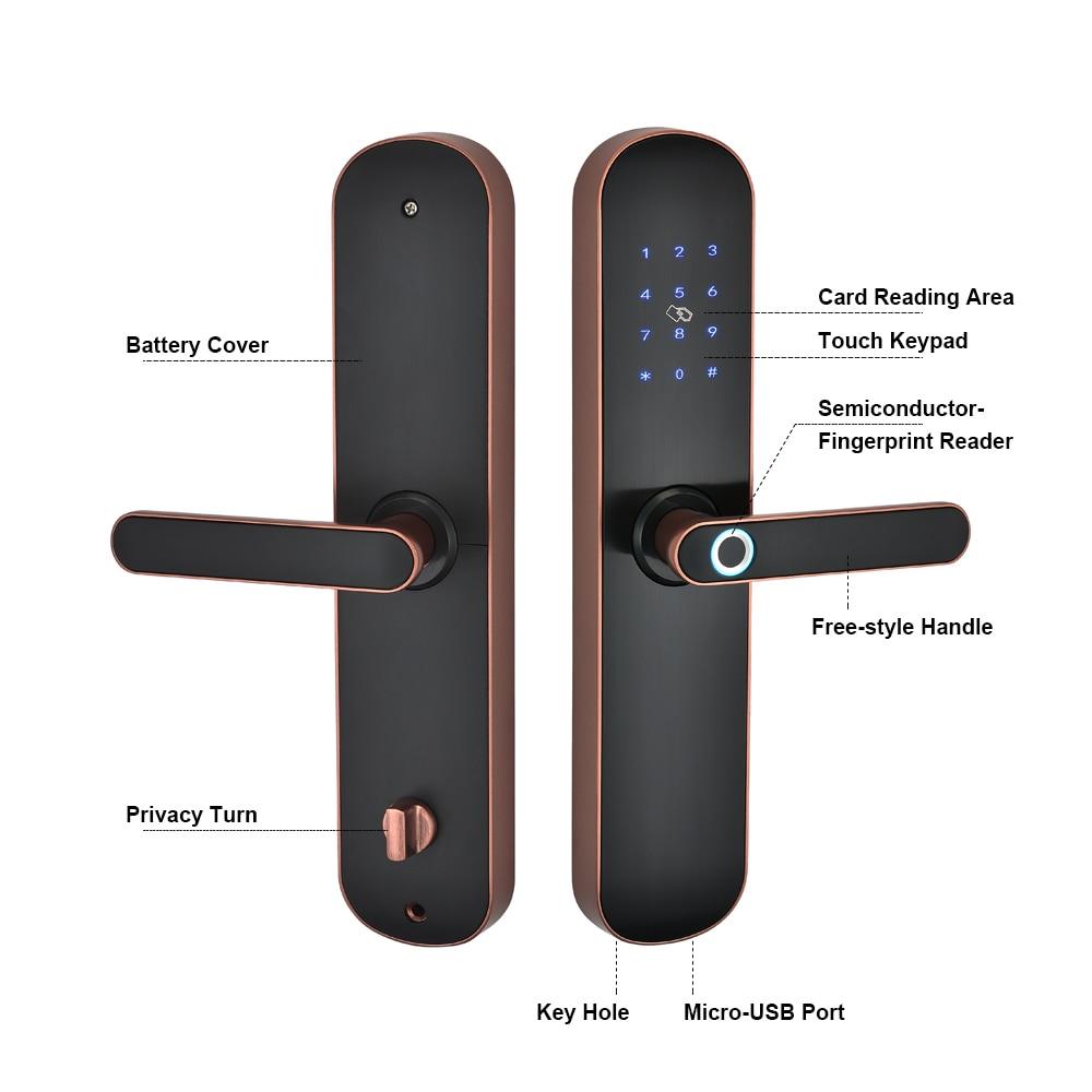 Get Electronic Smart Door Lock Bluetooth Fingerprint Lock with Digital Code IC Card Biometric Fingerprint Door Lock for Home