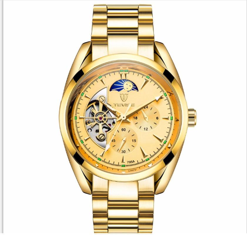 TEVISE Automatic Mechanical Mens Watch Starry Sky Moon Phase Luminous Tourbillon Wearproof Man Wrist