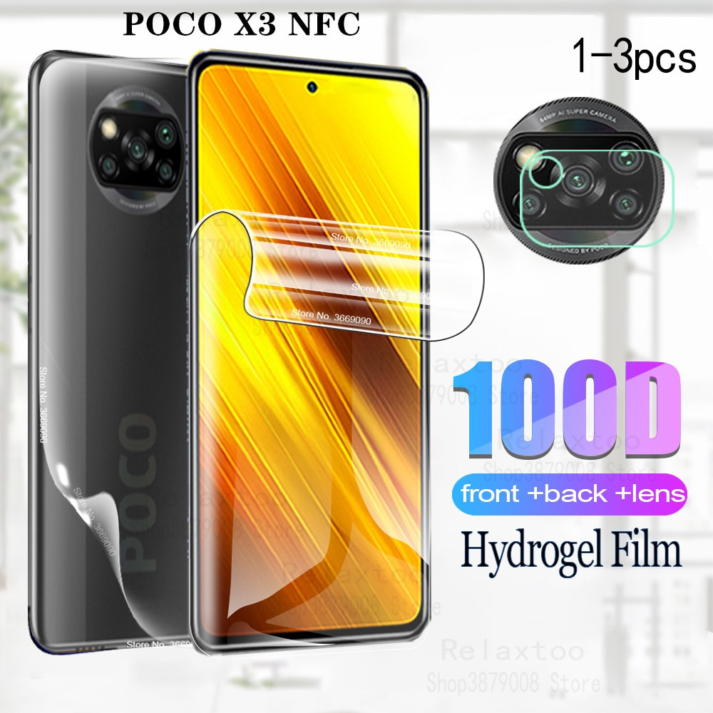 Hydrogel Film For XIAOMI POCO X3 NFC Screen Protector For xiaomi pocophone x3 x 3 Back Film pocox3 Camera Phone Protective Film