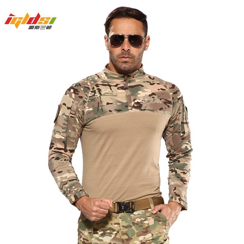 Camisa Exército Airsoft CP Camuflagem Terno Uniforme militar Respirável Roupa de Trabalho Dos Homens 2019 Novo Camisas de Combate Tático Comprovado Camisas