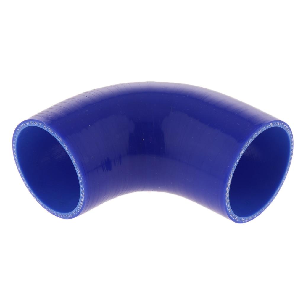 3 pulgadas de silicona de 90 grados codo de tubo Intercooler acoplador de manguera azul 2x