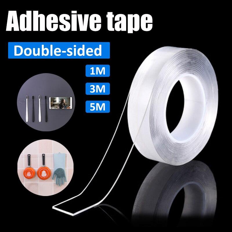 1/2/3/5m reutilizable adhesivo de doble cara transparente Nano cinta extraíble adhesivo multifuncional casa mejora