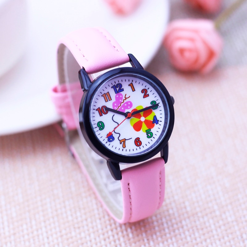 New Kids Watches Set Students Children Pink Cute Flower Watch Girls Leather Strap Child Hours Quartz Wristwatch Girl Gift Clocks big sale girl leather strap watch cute women wristwatch child mickey mouse watches girls fashion time lovely hour new pink kids