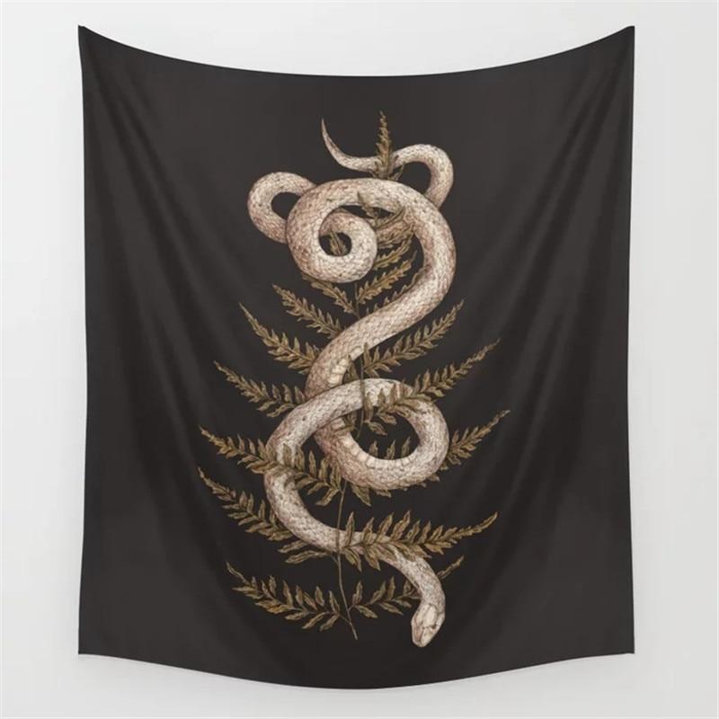 Dropshipping hoja de serpiente tapiz colgante de pared Hippie decoración del hogar manta poliéster tela dormitorio 180 × 230CM con 6M luz LED