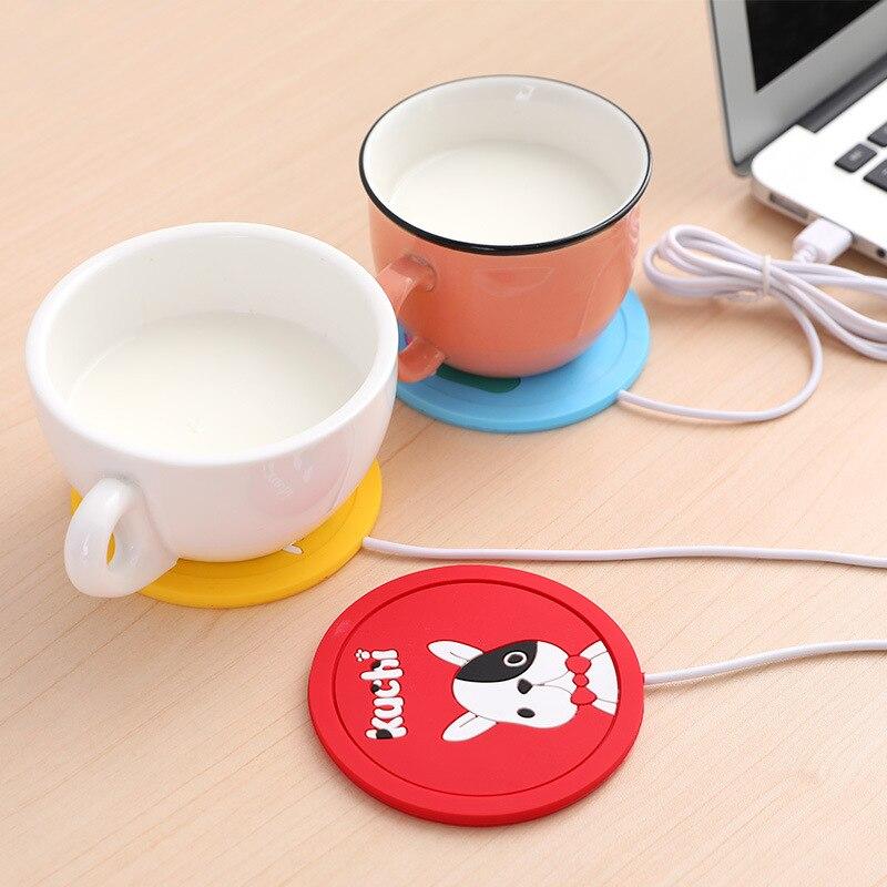 Cartoon Silica Gel Heating Cup Pad Portable USB Milk Tea Thermal Insulation Cup Pad Anti-skid Pad Silica Gel Tablemat Gift