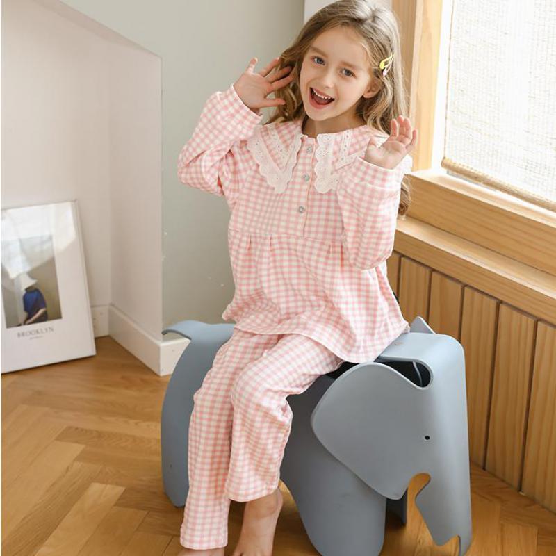 Nuevo conjunto de 2 pijamas para niños, pijamas de encaje para niñas, de manga larga ropa de dormir, ropa de ocio para niños, pijamas para niñas, ropa Estilo Princesa