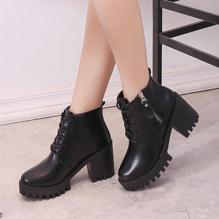 Botas de señora para Otoño y combate, Estilo Vintage, estilo militar, Punk y gótico, botas cortas de piel sintética para motero, dfv4