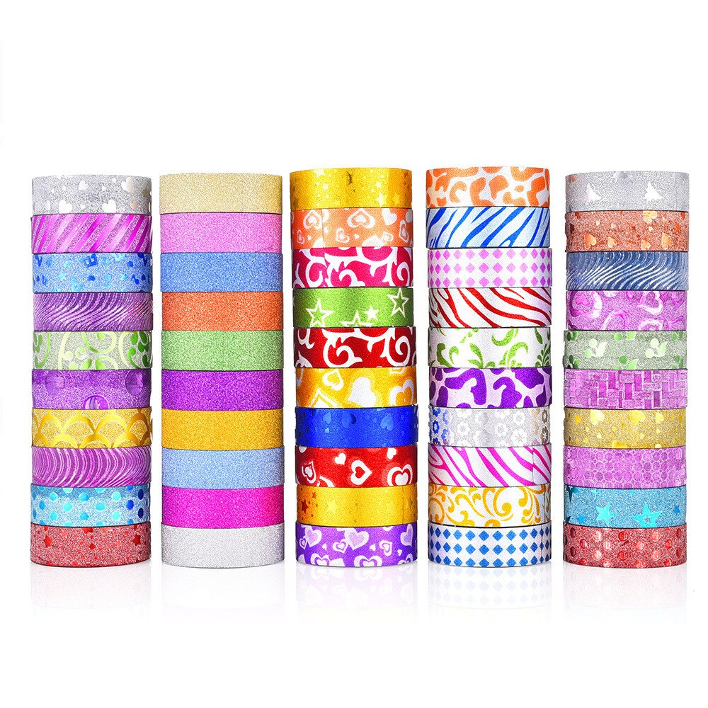 50pcs/set Gold Foil Washi Tapes Kawaii Stationery Glitter Sequins Masking Tapes DIY Scrapbooking Japanese Decoration Stickers
