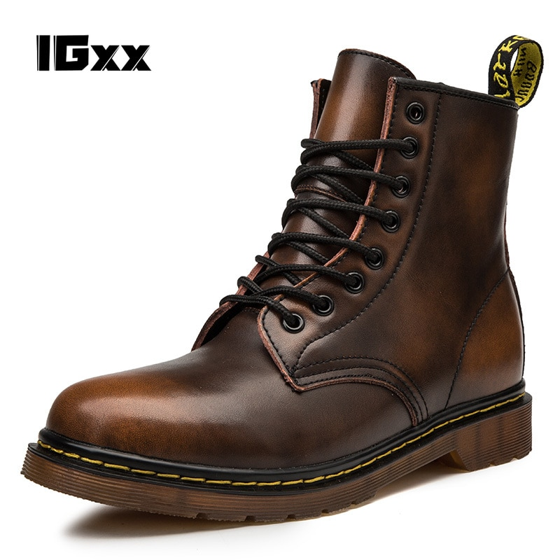 IGxx winter New Coturno Men Leather shoes High Top Fashion Winter Warm Snow shoes Dr. Motorcycle Ankle Boots Couple Unisex boots