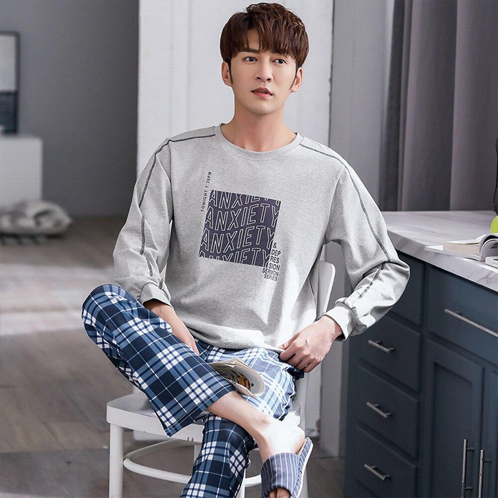 100% 25 хлопок пижама комплекты для мужчин осень зима тепло одежда для сна костюм повседневный спорт пижамы письмо принт клетка домашняя одежда большие размеры