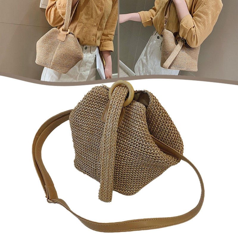 Straw Shoulder Bags For Women Straw Clutch Women Handmade Circular Ring Straw Bucket Bag Summer Beac