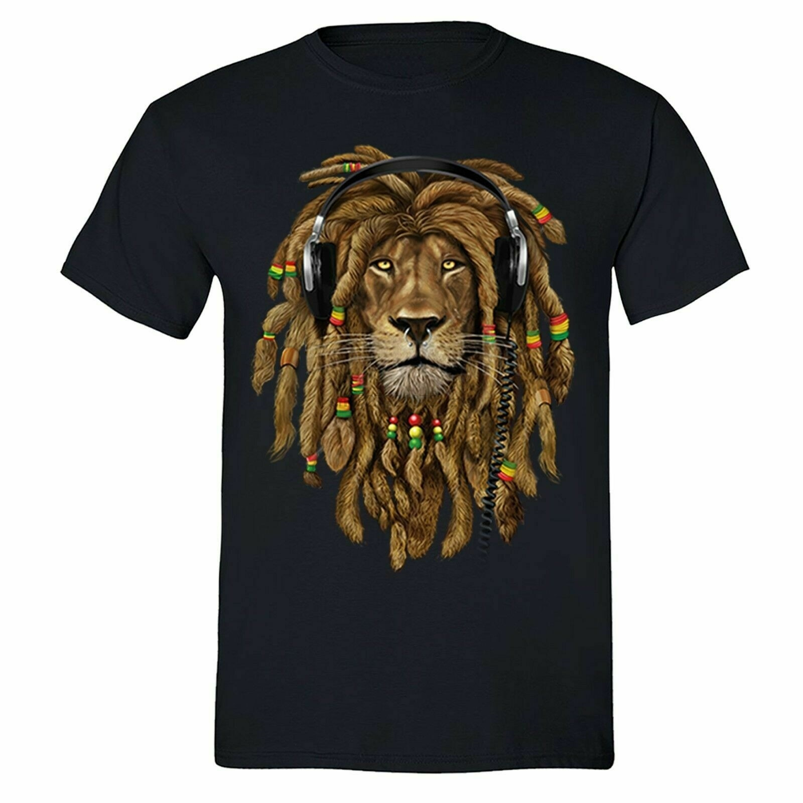 Rasta Lion of Judah T-shirt Headphones Jamaican Rastafari Zion  Tshirt