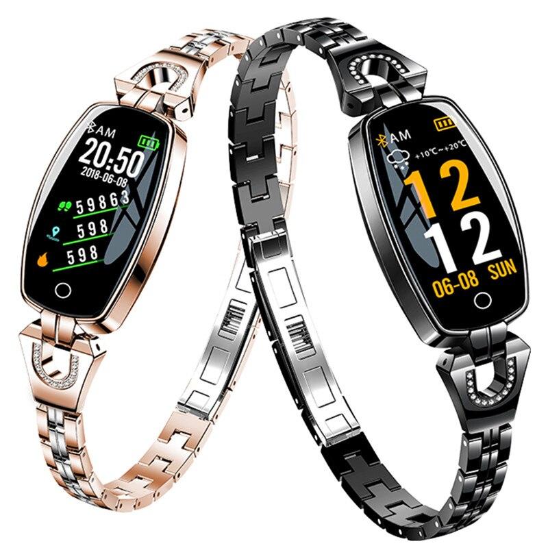 Multi sports mode Ms smart bracelet IP67 waterproof steel belt diamond watch heart rate blood pressure woman Bluetooth wristband