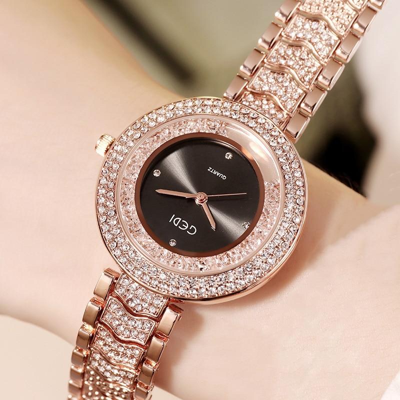 2020 GEDI New Luxury Watch Women Full Diamond Bracelet Watch Fashion Casual Rose Gold Rhinestone Ladies Watch Reloj Mujer Gifts enlarge