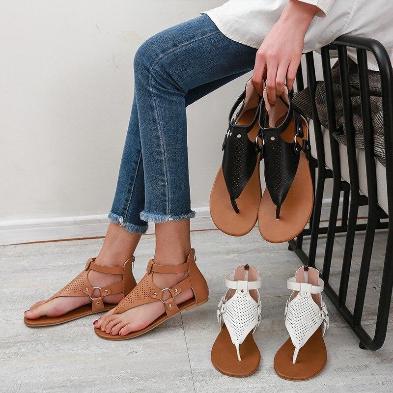 ¡Novedad de 2020! Sandalias de verano para mujer, Sandalias planas doradas, sandalias de gladiador casuales para mujer, chanclas, zapatos de mujer