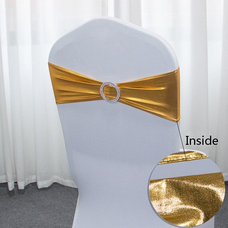 50 pcs/Lot métallique or chaise ceintures de mariage chaise décoration Spandex chaise couverture bande avec boucle ronde pour décor de fête