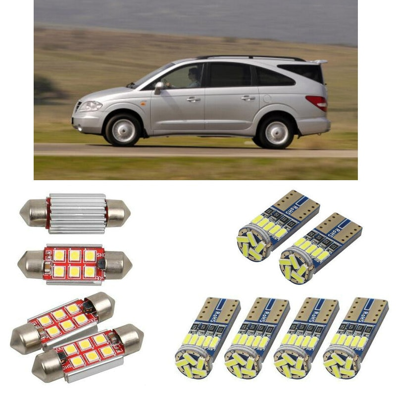Interior luzes do carro led para ssangyong rodius minivan 2005 acessórios do carro luz da placa de licença 8pc