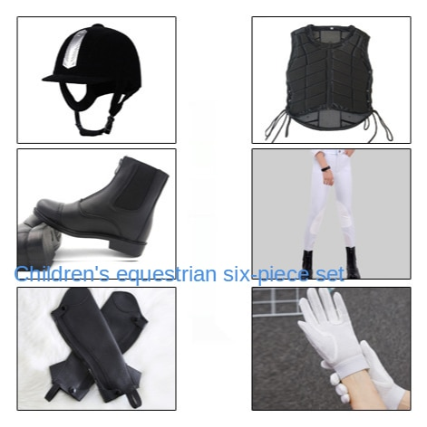 Equestrian 6-piece Horse Riding Hat Helmet Protective Armor Gloves Boots Leggings Riding Pants Child Outfit Custom Made Suit