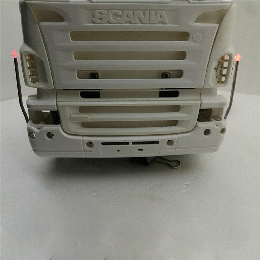 1 par de lámparas de repuesto laterales de luz LED V8 Logo para 1/14 Tamiya Scania R470 R620 R730 56323 RC camión accesorios de piezas de Tractor