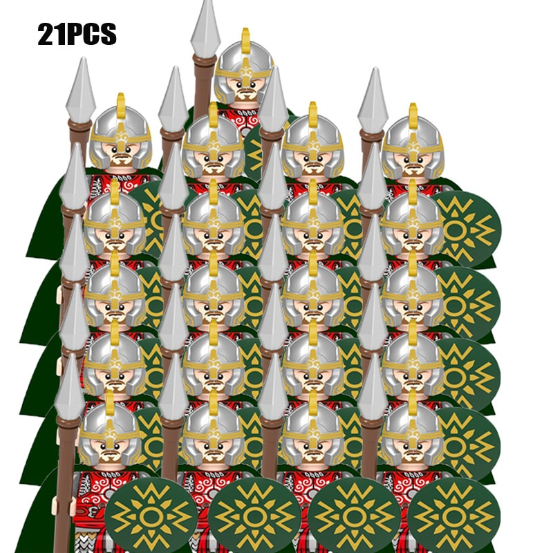21 قطعة/الوحدة قلعة الملك الملكي فارس روما سبارتاكوس القرون الوسطى العمر الجنود الأحمر الأسد أرقام متوافق اللبنات الاطفال اللعب